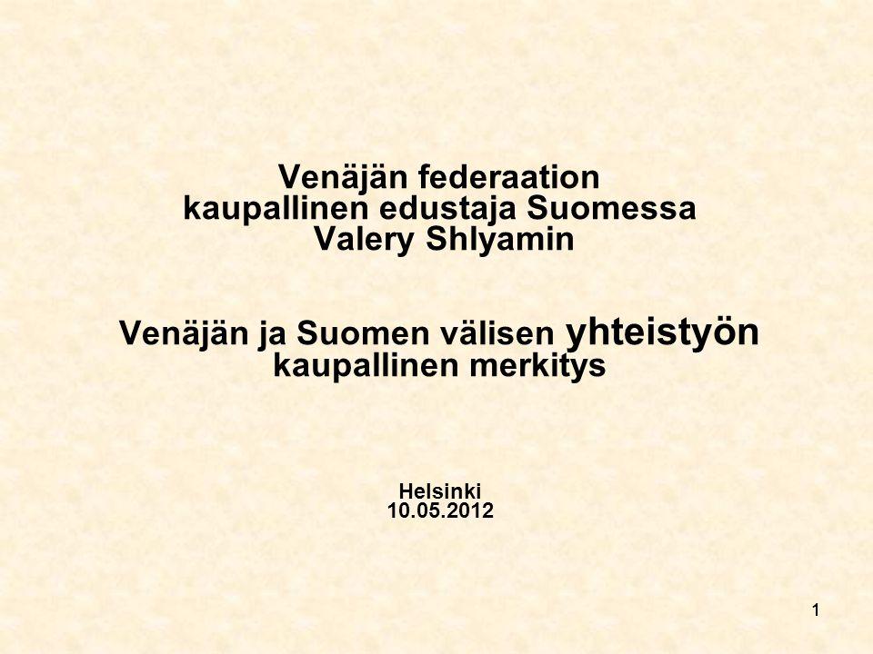 1111 Venäjän federaation kaupallinen edustaja Suomessa Valery Shlyamin Venäjän ja Suomen välisen yhteistyön kaupallinen merkitys Helsinki 10.05.2012