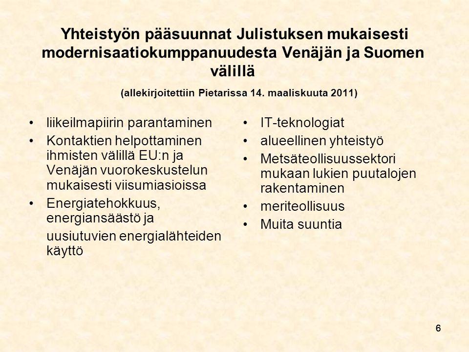 666 Yhteistyön pääsuunnat Julistuksen mukaisesti modernisaatiokumppanuudesta Venäjän ja Suomen välillä (allekirjoitettiin Pietarissa 14.