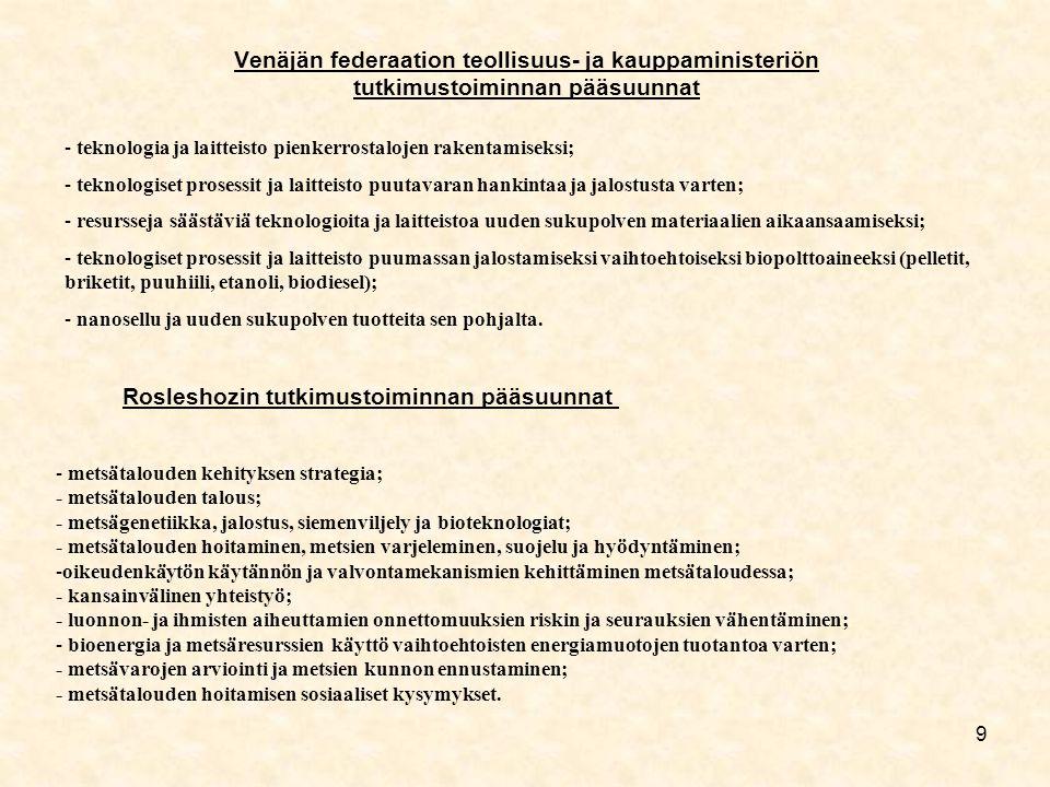 9 Venäjän federaation teollisuus- ja kauppaministeriön tutkimustoiminnan pääsuunnat - teknologia ja laitteisto pienkerrostalojen rakentamiseksi; - teknologiset prosessit ja laitteisto puutavaran hankintaa ja jalostusta varten; - resursseja säästäviä teknologioita ja laitteistoa uuden sukupolven materiaalien aikaansaamiseksi; - teknologiset prosessit ja laitteisto puumassan jalostamiseksi vaihtoehtoiseksi biopolttoaineeksi (pelletit, briketit, puuhiili, etanoli, biodiesel); - nanosellu ja uuden sukupolven tuotteita sen pohjalta.