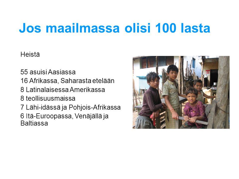 Jos maailmassa olisi 100 lasta Heistä 55 asuisi Aasiassa 16 Afrikassa, Saharasta etelään 8 Latinalaisessa Amerikassa 8 teollisuusmaissa 7 Lähi-idässä ja Pohjois-Afrikassa 6 Itä-Euroopassa, Venäjällä ja Baltiassa