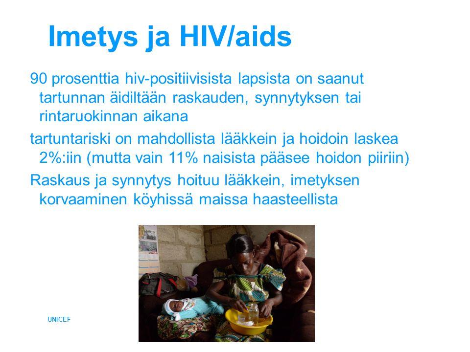 Imetys ja HIV/aids UNICEF 90 prosenttia hiv-positiivisista lapsista on saanut tartunnan äidiltään raskauden, synnytyksen tai rintaruokinnan aikana tartuntariski on mahdollista lääkkein ja hoidoin laskea 2%:iin (mutta vain 11% naisista pääsee hoidon piiriin) Raskaus ja synnytys hoituu lääkkein, imetyksen korvaaminen köyhissä maissa haasteellista