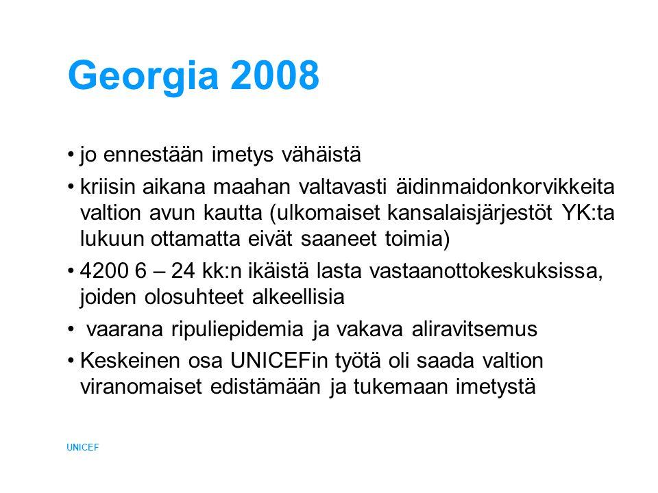 Georgia 2008 •jo ennestään imetys vähäistä •kriisin aikana maahan valtavasti äidinmaidonkorvikkeita valtion avun kautta (ulkomaiset kansalaisjärjestöt YK:ta lukuun ottamatta eivät saaneet toimia) •4200 6 – 24 kk:n ikäistä lasta vastaanottokeskuksissa, joiden olosuhteet alkeellisia • vaarana ripuliepidemia ja vakava aliravitsemus •Keskeinen osa UNICEFin työtä oli saada valtion viranomaiset edistämään ja tukemaan imetystä UNICEF