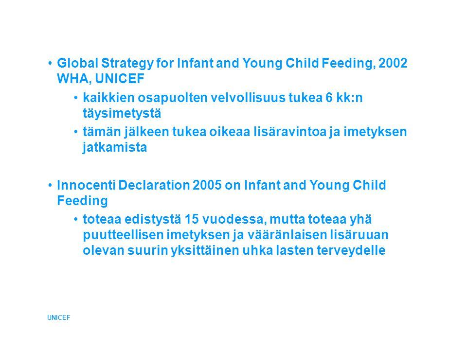 •Global Strategy for Infant and Young Child Feeding, 2002 WHA, UNICEF •kaikkien osapuolten velvollisuus tukea 6 kk:n täysimetystä •tämän jälkeen tukea oikeaa lisäravintoa ja imetyksen jatkamista •Innocenti Declaration 2005 on Infant and Young Child Feeding •toteaa edistystä 15 vuodessa, mutta toteaa yhä puutteellisen imetyksen ja vääränlaisen lisäruuan olevan suurin yksittäinen uhka lasten terveydelle UNICEF