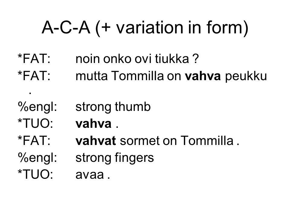 A-C-A (+ variation in form) *FAT:noin onko ovi tiukka .