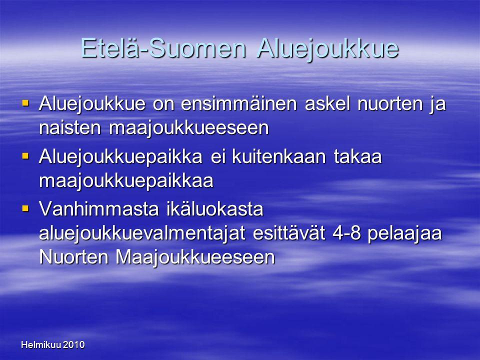 Helmikuu 2010 Etelä-Suomen Aluejoukkue  Aluejoukkue on ensimmäinen askel nuorten ja naisten maajoukkueeseen  Aluejoukkuepaikka ei kuitenkaan takaa maajoukkuepaikkaa  Vanhimmasta ikäluokasta aluejoukkuevalmentajat esittävät 4-8 pelaajaa Nuorten Maajoukkueeseen