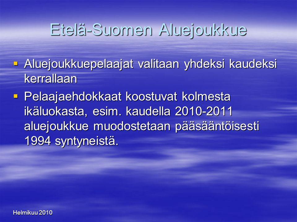 Helmikuu 2010 Etelä-Suomen Aluejoukkue  Aluejoukkuepelaajat valitaan yhdeksi kaudeksi kerrallaan  Pelaajaehdokkaat koostuvat kolmesta ikäluokasta, esim.