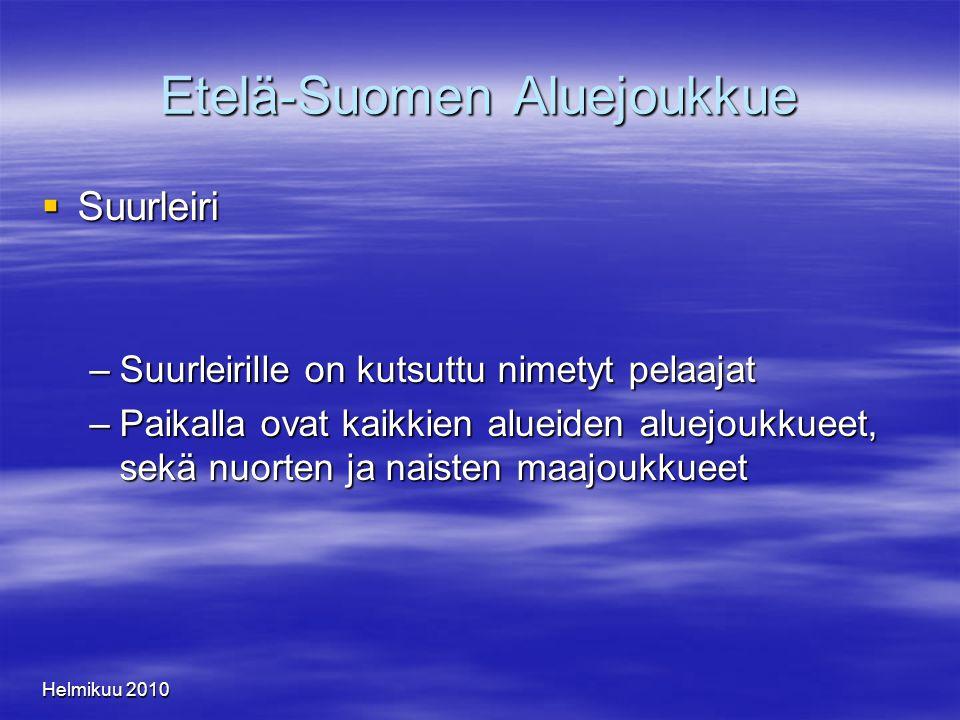Helmikuu 2010 Etelä-Suomen Aluejoukkue  Suurleiri –Suurleirille on kutsuttu nimetyt pelaajat –Paikalla ovat kaikkien alueiden aluejoukkueet, sekä nuorten ja naisten maajoukkueet