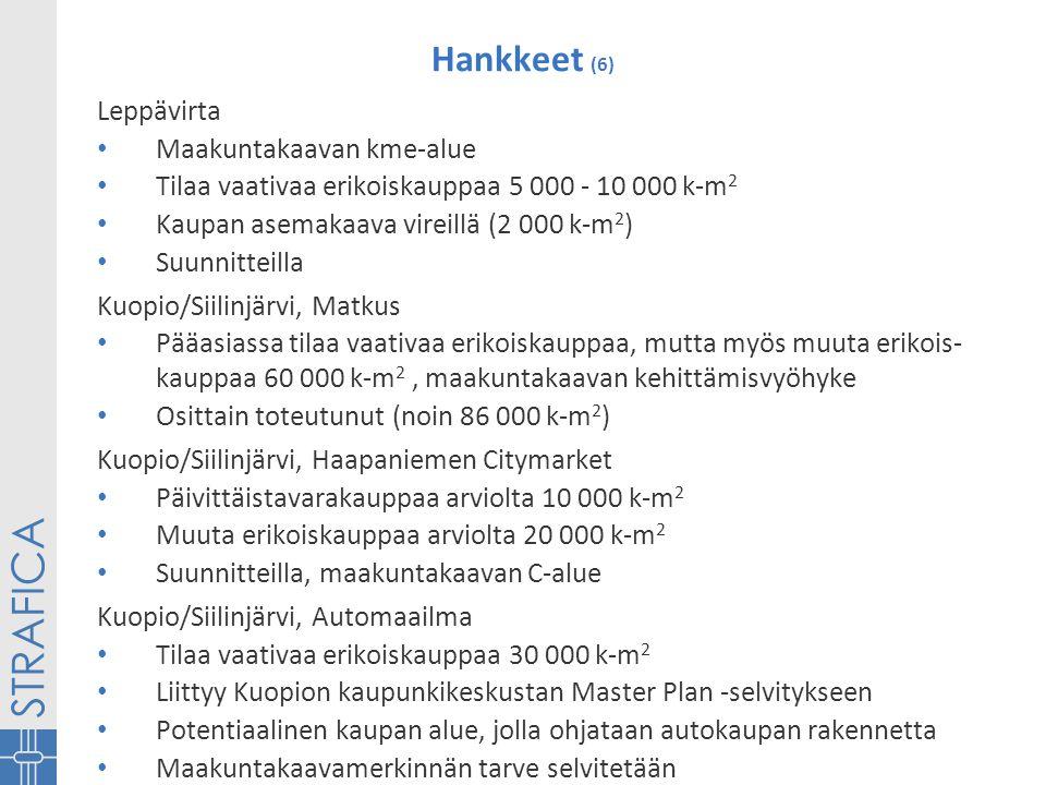 Hankkeet (6) Leppävirta • Maakuntakaavan kme-alue • Tilaa vaativaa erikoiskauppaa 5 000 - 10 000 k-m 2 • Kaupan asemakaava vireillä (2 000 k-m 2 ) • Suunnitteilla Kuopio/Siilinjärvi, Matkus • Pääasiassa tilaa vaativaa erikoiskauppaa, mutta myös muuta erikois- kauppaa 60 000 k-m 2, maakuntakaavan kehittämisvyöhyke • Osittain toteutunut (noin 86 000 k-m 2 ) Kuopio/Siilinjärvi, Haapaniemen Citymarket • Päivittäistavarakauppaa arviolta 10 000 k-m 2 • Muuta erikoiskauppaa arviolta 20 000 k-m 2 • Suunnitteilla, maakuntakaavan C-alue Kuopio/Siilinjärvi, Automaailma • Tilaa vaativaa erikoiskauppaa 30 000 k-m 2 • Liittyy Kuopion kaupunkikeskustan Master Plan -selvitykseen • Potentiaalinen kaupan alue, jolla ohjataan autokaupan rakennetta • Maakuntakaavamerkinnän tarve selvitetään
