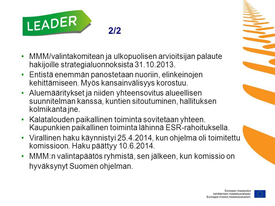Leader 2/2 •MMM/valintakomitean ja ulkopuolisen arvioitsijan palaute hakijoille strategialuonnoksista 31.10.2013.