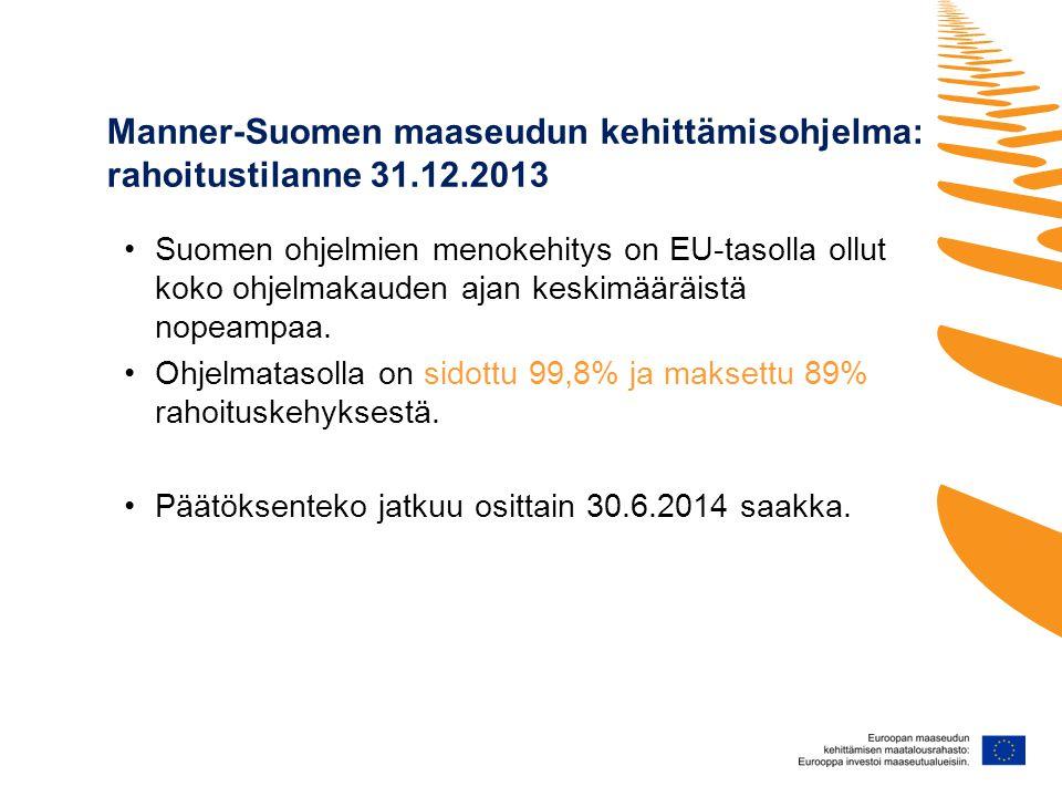 Manner-Suomen maaseudun kehittämisohjelma: rahoitustilanne 31.12.2013 •Suomen ohjelmien menokehitys on EU-tasolla ollut koko ohjelmakauden ajan keskimääräistä nopeampaa.