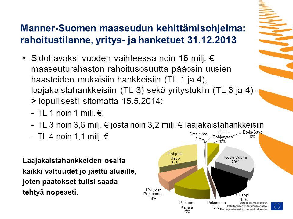 Manner-Suomen maaseudun kehittämisohjelma: rahoitustilanne, yritys- ja hanketuet 31.12.2013 •Sidottavaksi vuoden vaihteessa noin 16 milj.