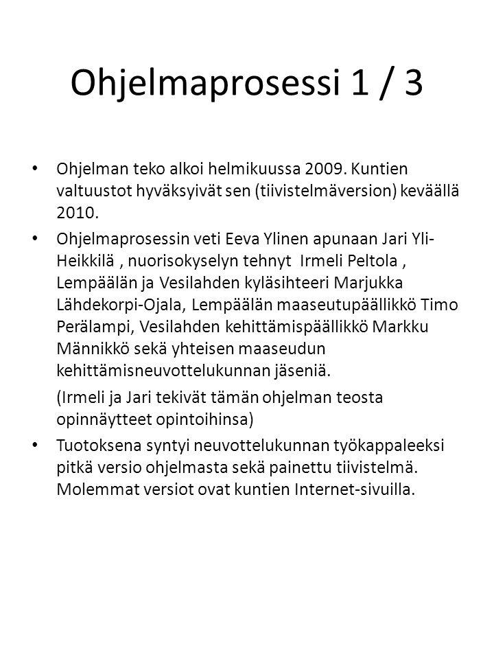 Ohjelmaprosessi 1 / 3 • Ohjelman teko alkoi helmikuussa 2009.