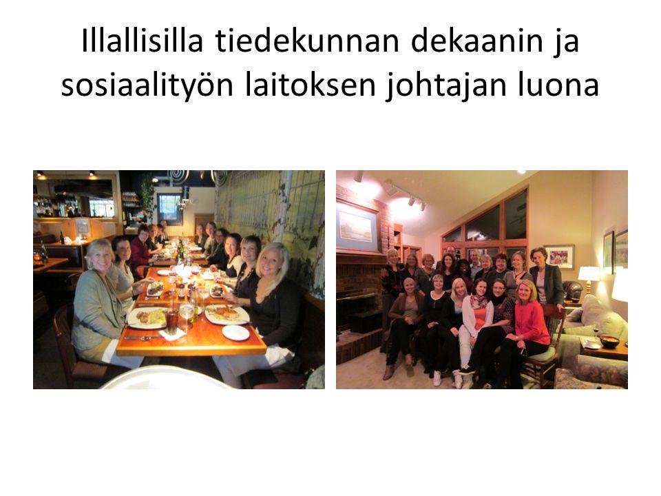 Illallisilla tiedekunnan dekaanin ja sosiaalityön laitoksen johtajan luona