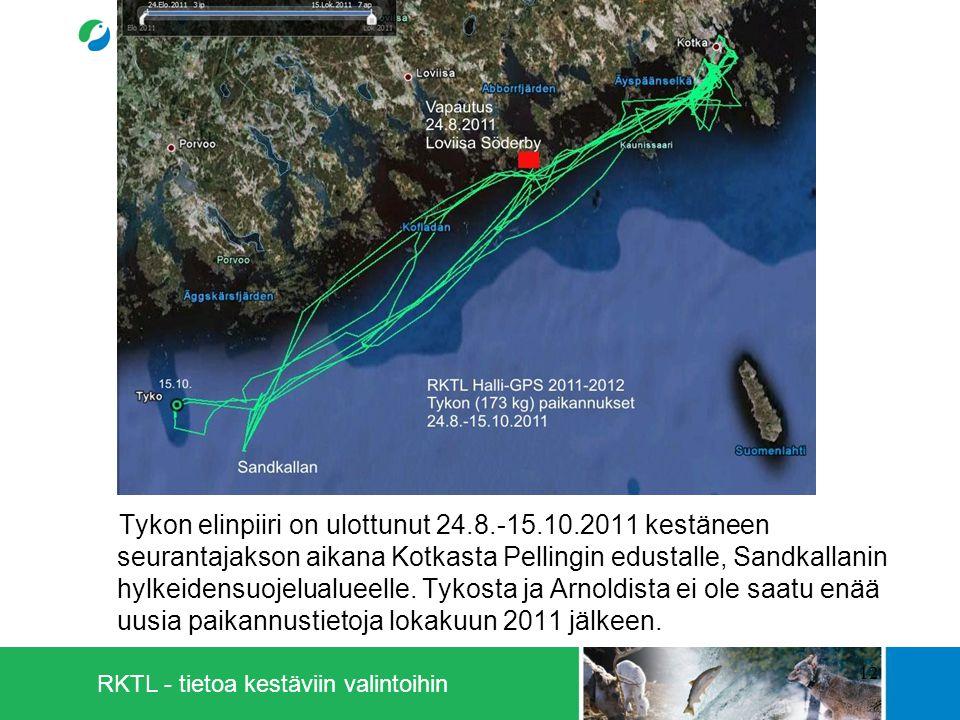 RKTL - tietoa kestäviin valintoihin Tykon elinpiiri on ulottunut 24.8.-15.10.2011 kestäneen seurantajakson aikana Kotkasta Pellingin edustalle, Sandkallanin hylkeidensuojelualueelle.