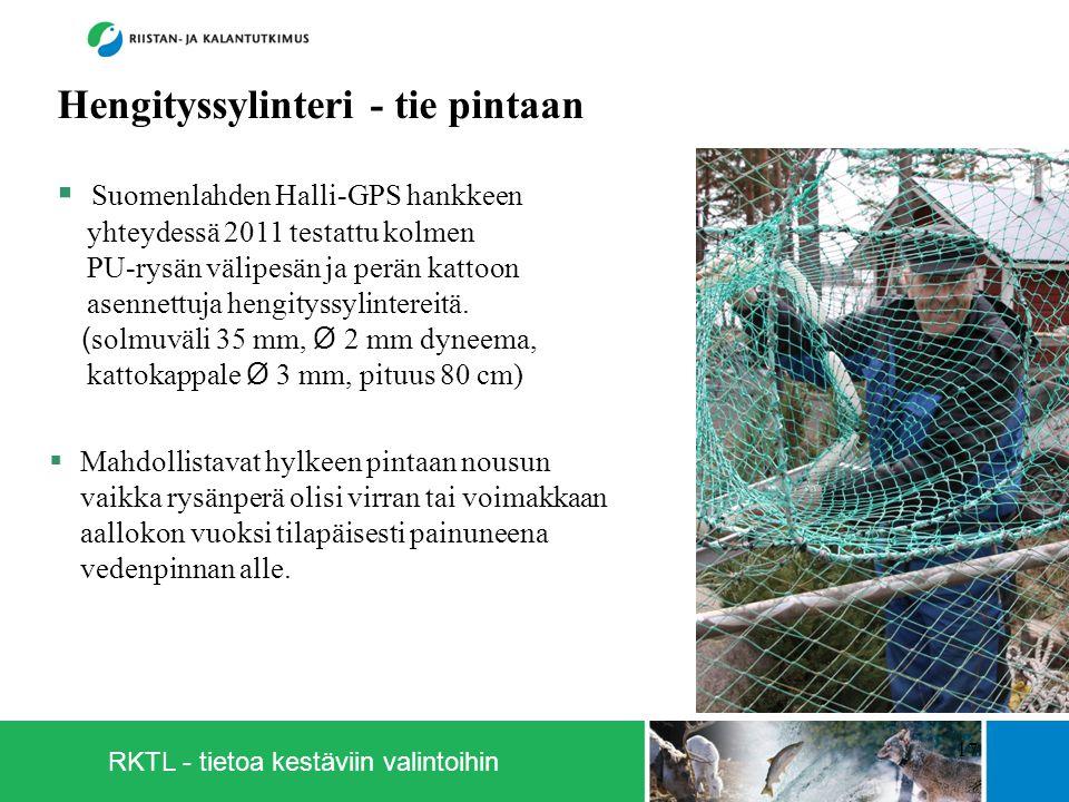 RKTL - tietoa kestäviin valintoihin 17  Suomenlahden Halli-GPS hankkeen yhteydessä 2011 testattu kolmen PU-rysän välipesän ja perän kattoon asennettuja hengityssylintereitä.