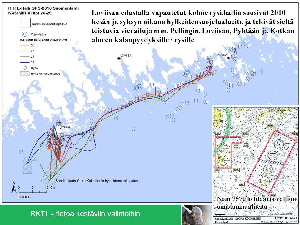 6 Loviisan edustalla vapautetut kolme rysähallia suosivat 2010 kesän ja syksyn aikana hylkeidensuojelualueita ja tekivät sieltä toistuvia vierailuja mm.