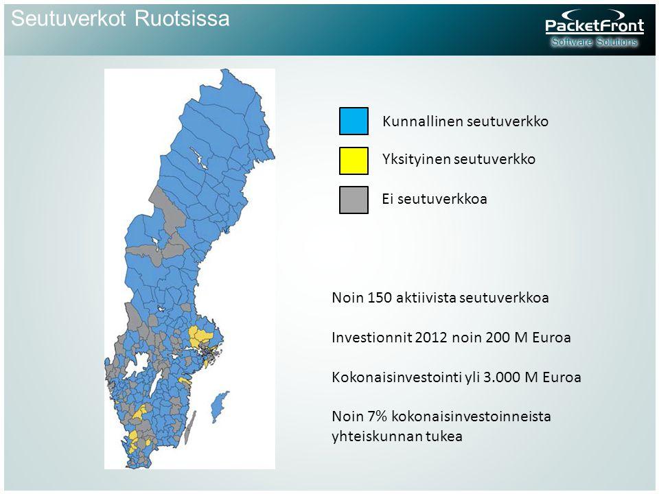 Seutuverkot Ruotsissa Kunnallinen seutuverkko Yksityinen seutuverkko Ei seutuverkkoa Noin 150 aktiivista seutuverkkoa Investionnit 2012 noin 200 M Euroa Kokonaisinvestointi yli 3.000 M Euroa Noin 7% kokonaisinvestoinneista yhteiskunnan tukea