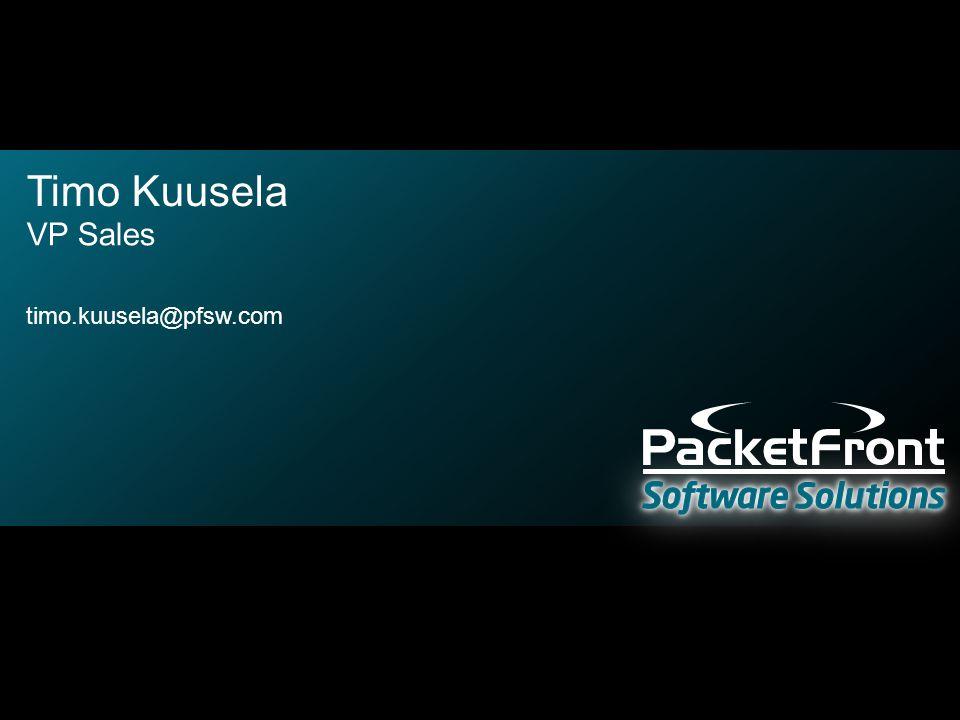 Timo Kuusela VP Sales timo.kuusela@pfsw.com