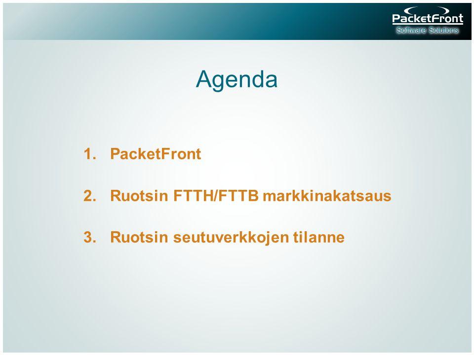 Agenda 1.PacketFront 2.Ruotsin FTTH/FTTB markkinakatsaus 3.Ruotsin seutuverkkojen tilanne