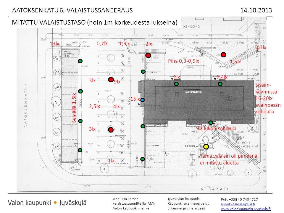 Annukka Larsen valaistussuunnittelija AMK Valon kaupunki -hanke Jyväskylän kaupunki Kaupunkirakennepalvelut Liikenne- ja viheralueet Puh.