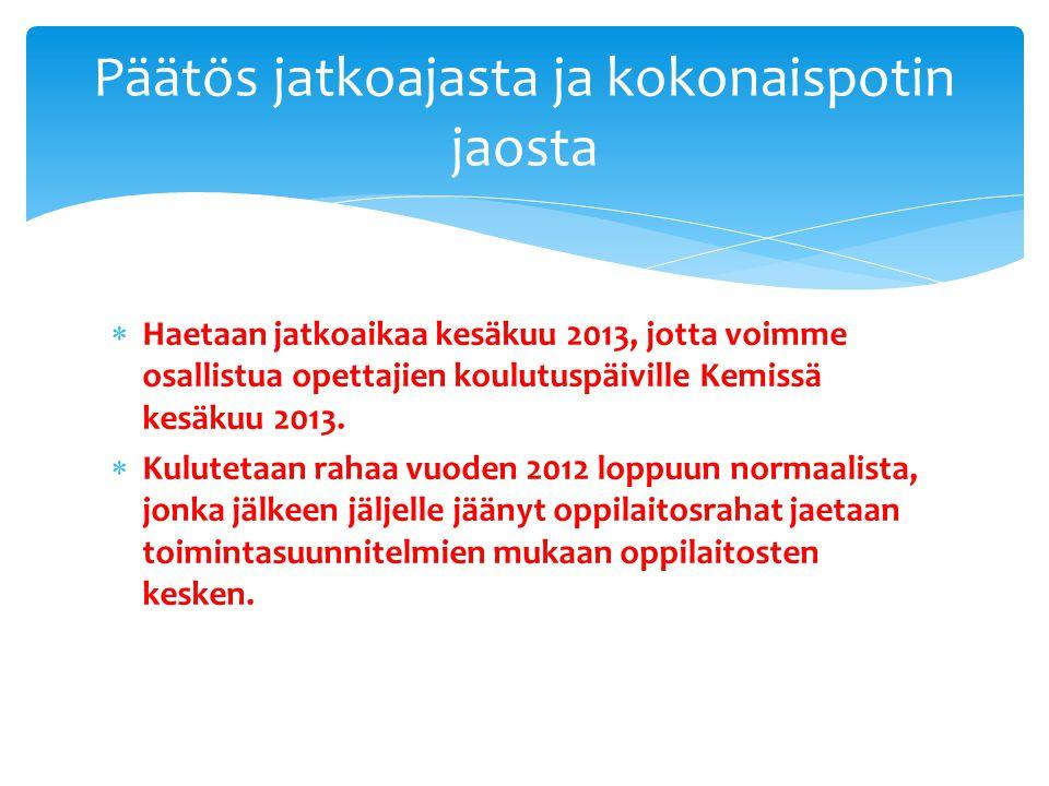  Haetaan jatkoaikaa kesäkuu 2013, jotta voimme osallistua opettajien koulutuspäiville Kemissä kesäkuu 2013.