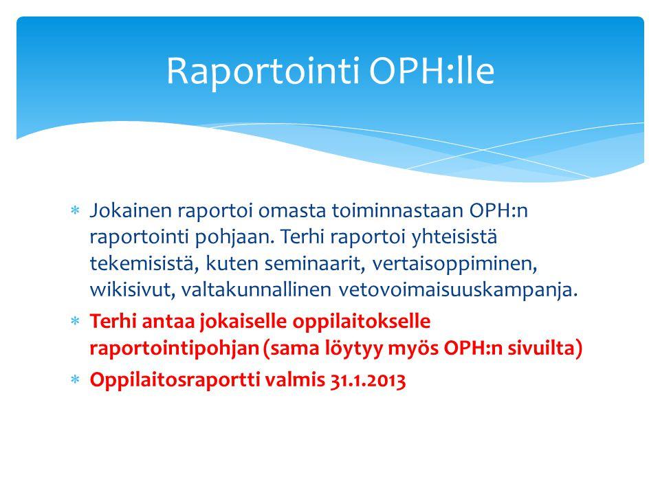 Jokainen raportoi omasta toiminnastaan OPH:n raportointi pohjaan.