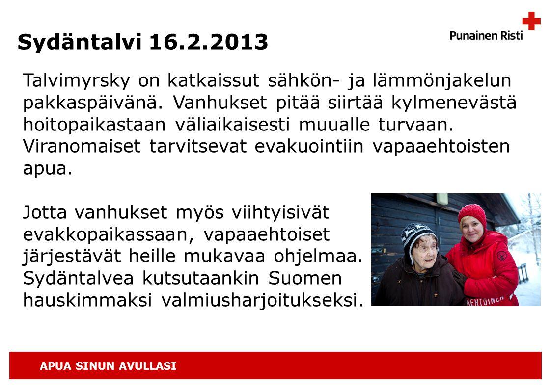 APUA SINUN AVULLASI Sydäntalvi 16.2.2013 Talvimyrsky on katkaissut sähkön- ja lämmönjakelun pakkaspäivänä.