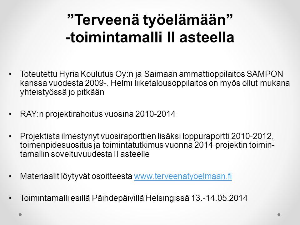 •Toteutettu Hyria Koulutus Oy:n ja Saimaan ammattioppilaitos SAMPON kanssa vuodesta 2009-.