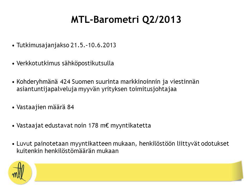 MTL-Barometri Q2/2013 •Tutkimusajanjakso 21.5.–10.6.2013 •Verkkotutkimus sähköpostikutsulla •Kohderyhmänä 424 Suomen suurinta markkinoinnin ja viestinnän asiantuntijapalveluja myyvän yrityksen toimitusjohtajaa •Vastaajien määrä 84 •Vastaajat edustavat noin 178 m€ myyntikatetta •Luvut painotetaan myyntikatteen mukaan, henkilöstöön liittyvät odotukset kuitenkin henkilöstömäärän mukaan