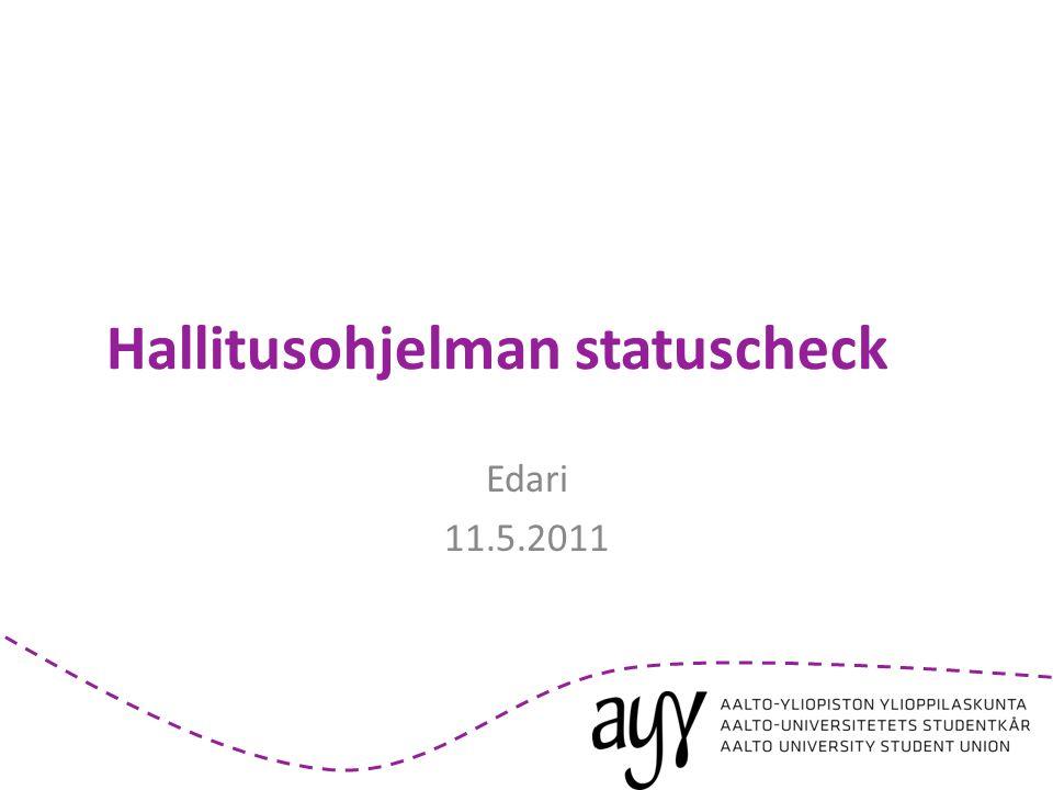 Hallitusohjelman statuscheck Edari 11.5.2011