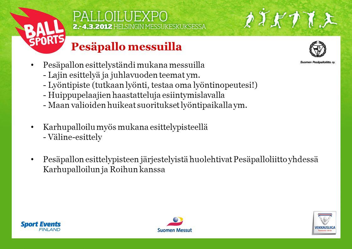 Pesäpallo messuilla • Pesäpallon esittelyständi mukana messuilla - Lajin esittelyä ja juhlavuoden teemat ym.