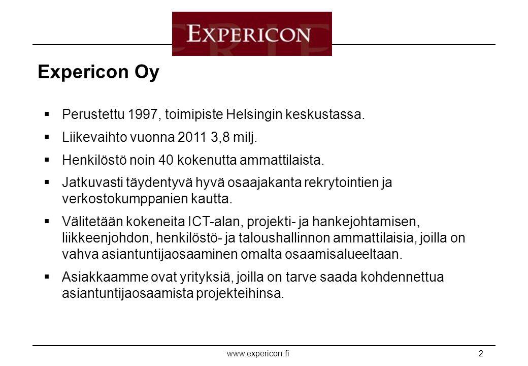 E XPERICON www.expericon.fi2  Perustettu 1997, toimipiste Helsingin keskustassa.