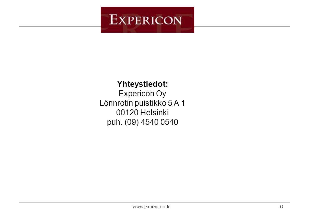 E XPERICON www.expericon.fi6 Yhteystiedot: Expericon Oy Lönnrotin puistikko 5 A 1 00120 Helsinki puh.