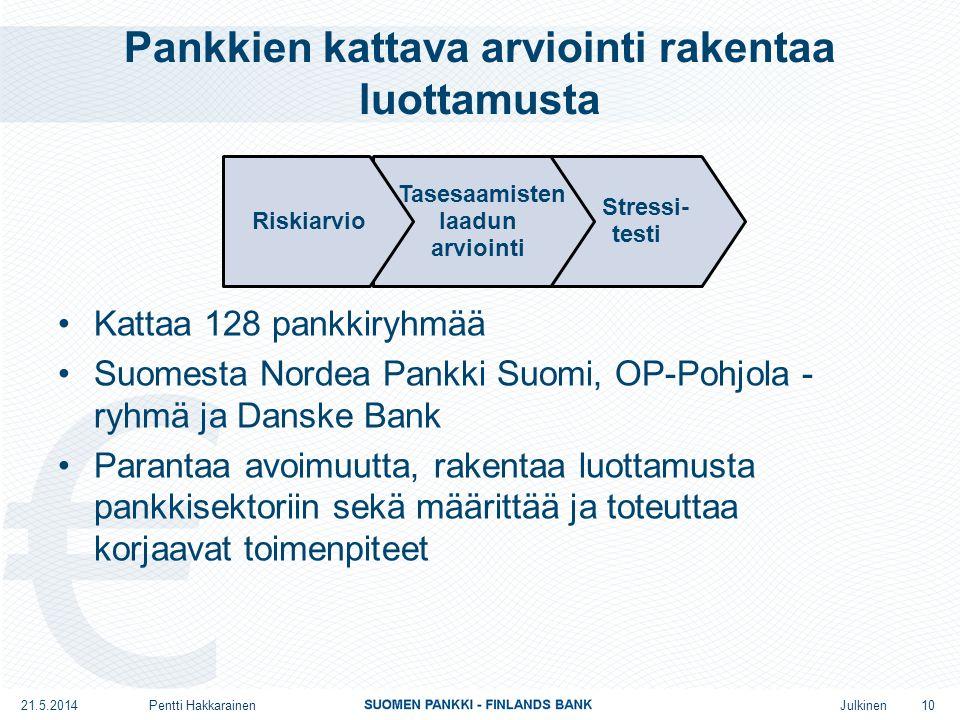 Julkinen Pankkien kattava arviointi rakentaa luottamusta •Kattaa 128 pankkiryhmää •Suomesta Nordea Pankki Suomi, OP-Pohjola - ryhmä ja Danske Bank •Parantaa avoimuutta, rakentaa luottamusta pankkisektoriin sekä määrittää ja toteuttaa korjaavat toimenpiteet Stressi- testi Tasesaamisten laadun arviointi Riskiarvio 10 21.5.2014Pentti Hakkarainen