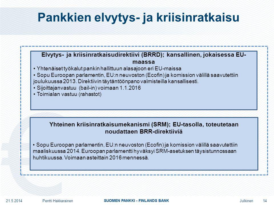 Julkinen Pankkien elvytys- ja kriisinratkaisu Yhteinen kriisinratkaisumekanismi (SRM); EU-tasolla, toteutetaan noudattaen BRR-direktiiviä • Sopu Euroopan parlamentin, EU:n neuvoston (Ecofin) ja komission välillä saavutettiin maaliskuussa 2014.
