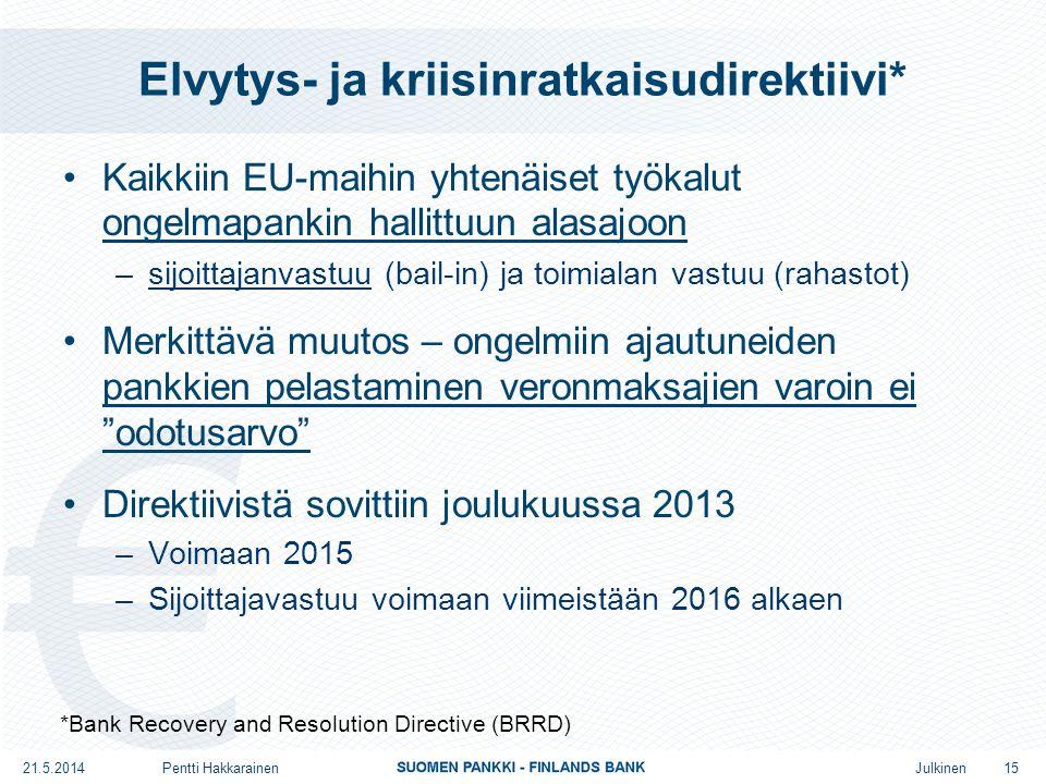 Julkinen Elvytys- ja kriisinratkaisudirektiivi* •Kaikkiin EU-maihin yhtenäiset työkalut ongelmapankin hallittuun alasajoon –sijoittajanvastuu (bail-in) ja toimialan vastuu (rahastot) •Merkittävä muutos – ongelmiin ajautuneiden pankkien pelastaminen veronmaksajien varoin ei odotusarvo •Direktiivistä sovittiin joulukuussa 2013 –Voimaan 2015 –Sijoittajavastuu voimaan viimeistään 2016 alkaen *Bank Recovery and Resolution Directive (BRRD) 15 21.5.2014Pentti Hakkarainen