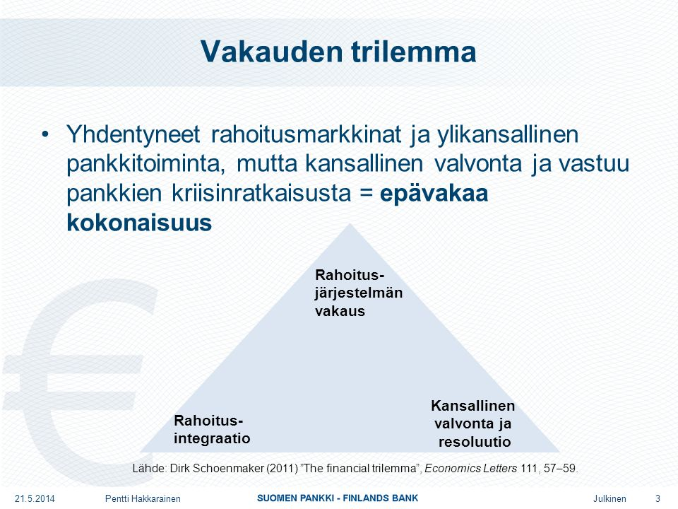 Julkinen Vakauden trilemma •Yhdentyneet rahoitusmarkkinat ja ylikansallinen pankkitoiminta, mutta kansallinen valvonta ja vastuu pankkien kriisinratkaisusta = epävakaa kokonaisuus 21.5.2014Pentti Hakkarainen 3 Rahoitus- integraatio Kansallinen valvonta ja resoluutio Rahoitus- järjestelmän vakaus Lähde: Dirk Schoenmaker (2011) The financial trilemma , Economics Letters 111, 57–59.