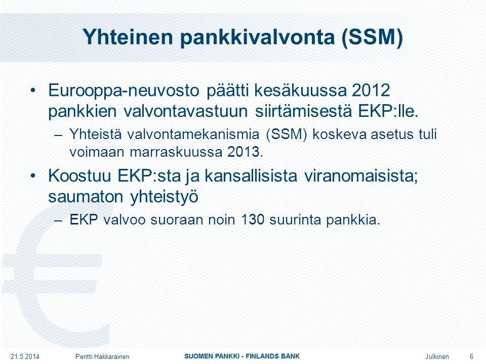 Julkinen •Eurooppa-neuvosto päätti kesäkuussa 2012 pankkien valvontavastuun siirtämisestä EKP:lle.