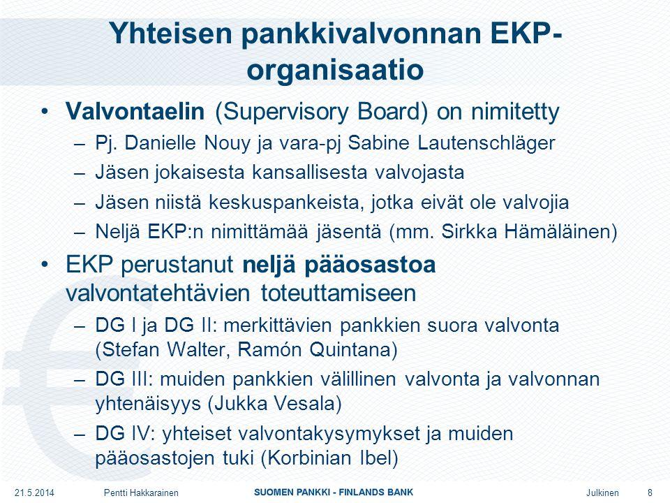 Julkinen Yhteisen pankkivalvonnan EKP- organisaatio •Valvontaelin (Supervisory Board) on nimitetty –Pj.