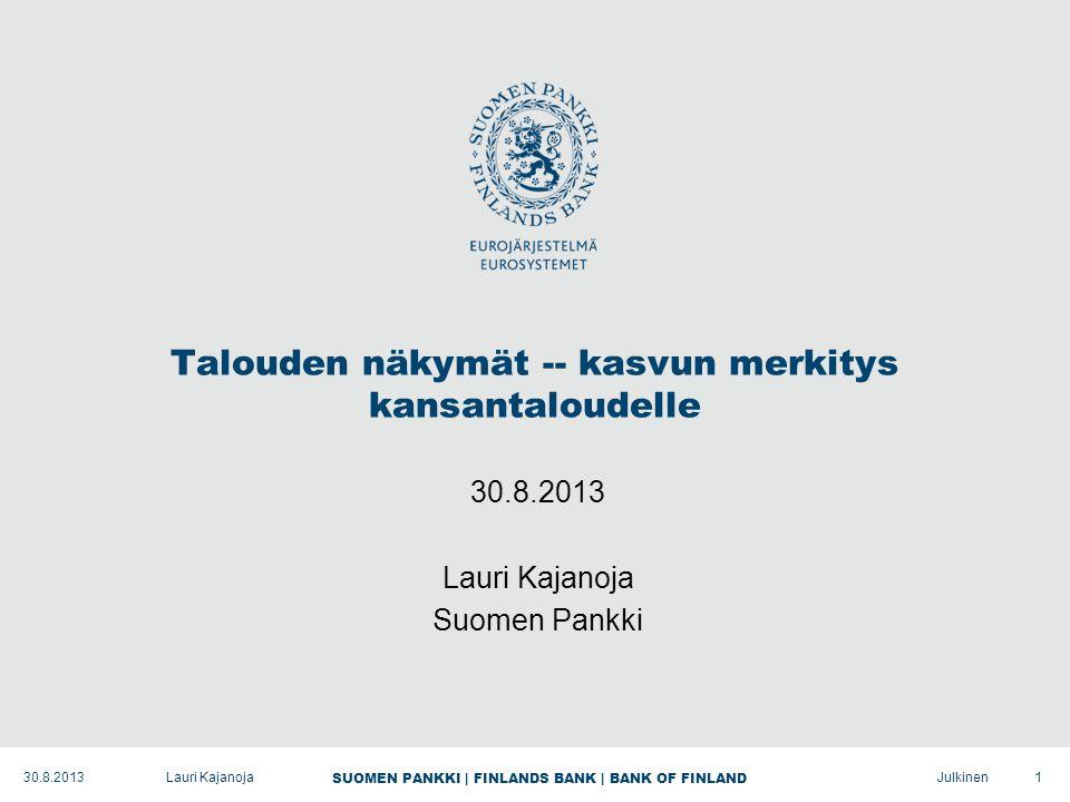 SUOMEN PANKKI | FINLANDS BANK | BANK OF FINLAND Julkinen Talouden näkymät -- kasvun merkitys kansantaloudelle 30.8.2013 Lauri Kajanoja Suomen Pankki 130.8.2013Lauri Kajanoja
