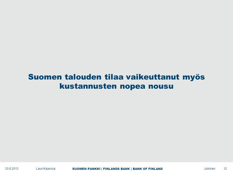 SUOMEN PANKKI | FINLANDS BANK | BANK OF FINLAND Julkinen Suomen talouden tilaa vaikeuttanut myös kustannusten nopea nousu 12Lauri Kajanoja30.8.2013