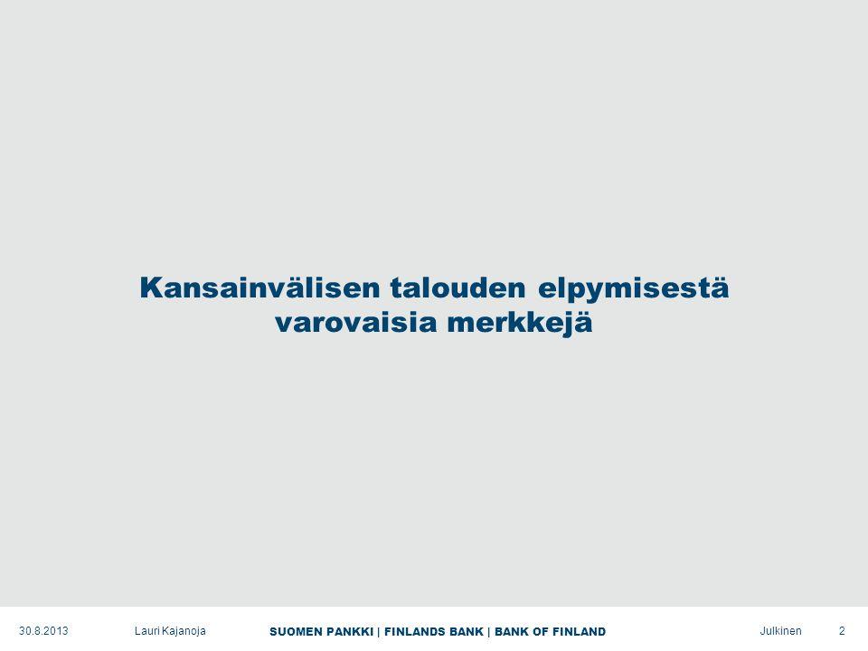 SUOMEN PANKKI | FINLANDS BANK | BANK OF FINLAND Julkinen Kansainvälisen talouden elpymisestä varovaisia merkkejä 2Lauri Kajanoja30.8.2013