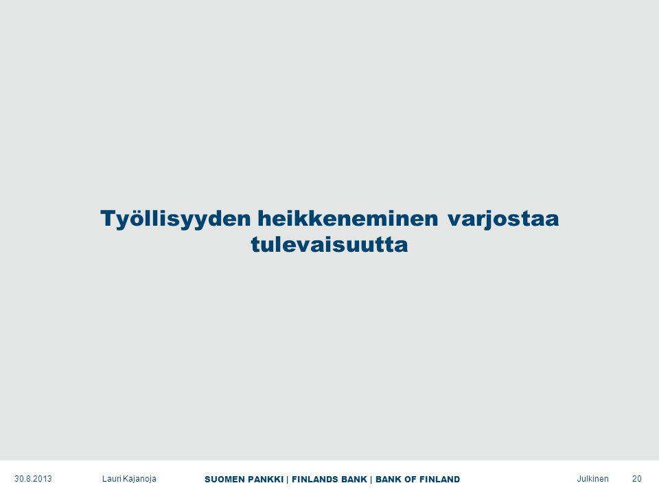 SUOMEN PANKKI | FINLANDS BANK | BANK OF FINLAND Julkinen Työllisyyden heikkeneminen varjostaa tulevaisuutta 20Lauri Kajanoja30.8.2013
