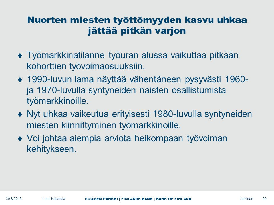 SUOMEN PANKKI | FINLANDS BANK | BANK OF FINLAND Julkinen Nuorten miesten työttömyyden kasvu uhkaa jättää pitkän varjon  Työmarkkinatilanne työuran alussa vaikuttaa pitkään kohorttien työvoimaosuuksiin.
