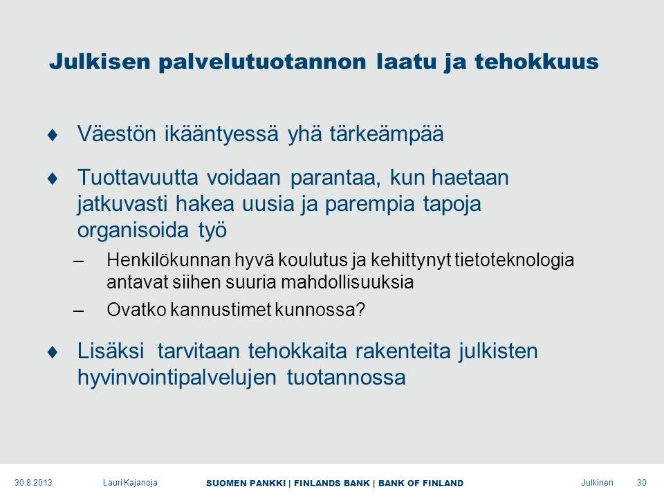 SUOMEN PANKKI | FINLANDS BANK | BANK OF FINLAND Julkinen Julkisen palvelutuotannon laatu ja tehokkuus  Väestön ikääntyessä yhä tärkeämpää  Tuottavuutta voidaan parantaa, kun haetaan jatkuvasti hakea uusia ja parempia tapoja organisoida työ –Henkilökunnan hyvä koulutus ja kehittynyt tietoteknologia antavat siihen suuria mahdollisuuksia –Ovatko kannustimet kunnossa.