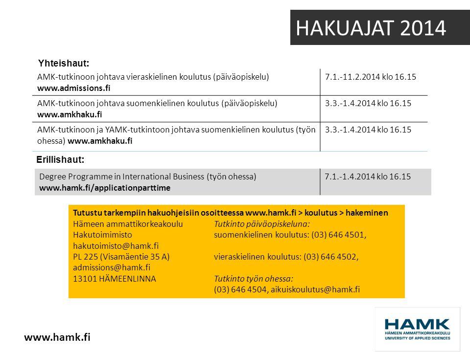 AMK-tutkinoon johtava vieraskielinen koulutus (päiväopiskelu) www.admissions.fi 7.1.-11.2.2014 klo 16.15 AMK-tutkinoon johtava suomenkielinen koulutus (päiväopiskelu) www.amkhaku.fi 3.3.-1.4.2014 klo 16.15 AMK-tutkinoon ja YAMK-tutkintoon johtava suomenkielinen koulutus (työn ohessa) www.amkhaku.fi 3.3.-1.4.2014 klo 16.15 Degree Programme in International Business (työn ohessa) www.hamk.fi/applicationparttime 7.1.-1.4.2014 klo 16.15 Erillishaut : Yhteishaut : Tutustu tarkempiin hakuohjeisiin osoitteessa www.hamk.fi > koulutus > hakeminen Hämeen ammattikorkeakouluTutkinto päiväopiskeluna: Hakutoimimistosuomenkielinen koulutus: (03) 646 4501, hakutoimisto@hamk.fi PL 225 (Visamäentie 35 A)vieraskielinen koulutus: (03) 646 4502, admissions@hamk.fi 13101 HÄMEENLINNATutkinto työn ohessa: (03) 646 4504, aikuiskoulutus@hamk.fi HAKUAJAT 2014