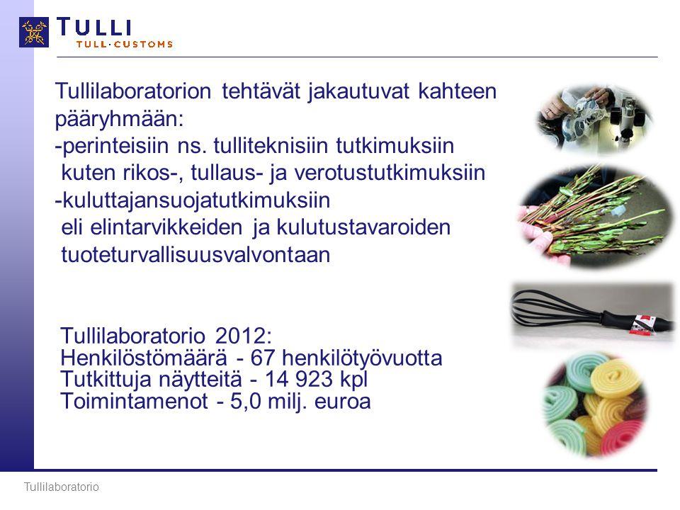 Tullilaboratorio 2012: Henkilöstömäärä - 67 henkilötyövuotta Tutkittuja näytteitä - 14 923 kpl Toimintamenot - 5,0 milj.