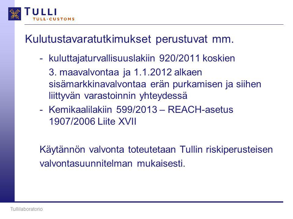 Kulutustavaratutkimukset perustuvat mm. -kuluttajaturvallisuuslakiin 920/2011 koskien 3.