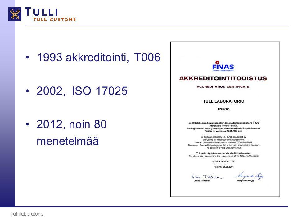 •1993 akkreditointi, T006 •2002, ISO 17025 •2012, noin 80 menetelmää Tullilaboratorio