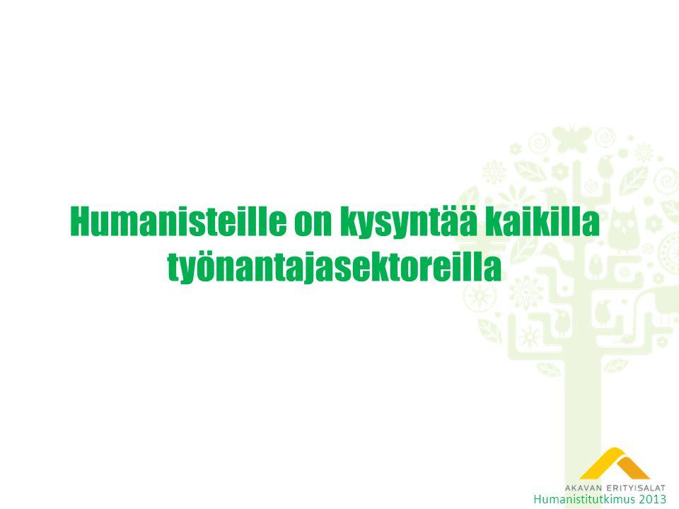 Humanisteille on kysyntää kaikilla työnantajasektoreilla Humanistitutkimus 2013